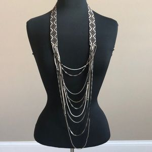 Multi-strand bead and metal necklace